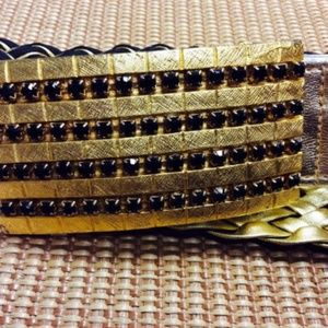 Metallic Gold and Black Braided Leather belt MED